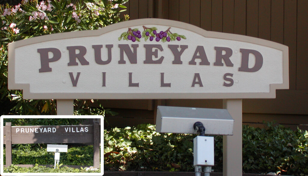 Campbell custom apartment sign pruneyard villas california