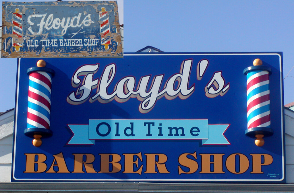 Campbell custom salon signs lloyds barber shop before and after