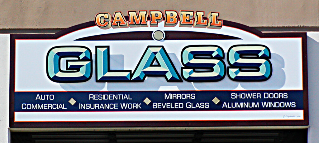Campbell dimensional letters sign glass after