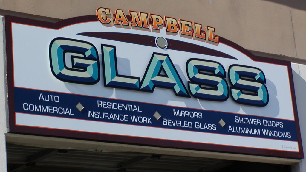 Campbell dimensional letters sign glass after side view