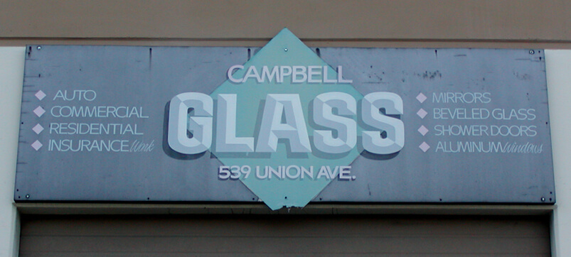 Campbell dimensional letters sign glass after side before