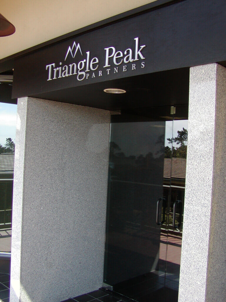 Carmel custom office signs triangle peak partners exterior