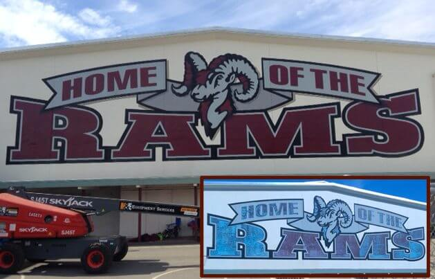Concord school signs rams mascot mural california
