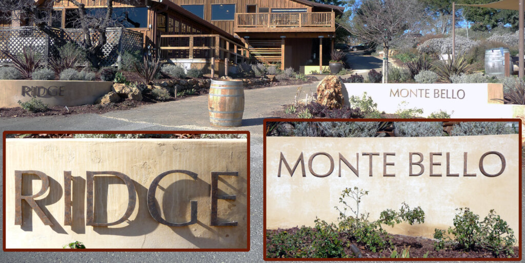 Cupertino dimensional letters sign monte bello ridge vineyard entrance