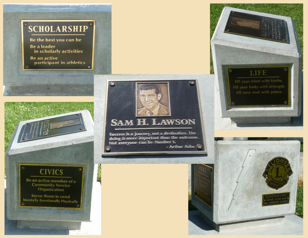 Cupertino school signs Sam Lawson Monument california