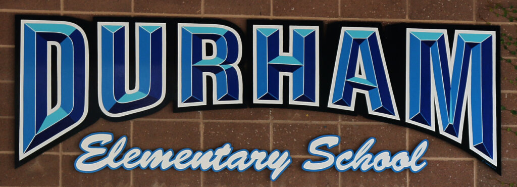 Durham school signs hand painted lettering california
