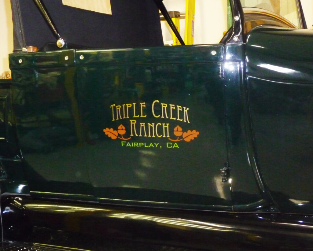 Fairplay vehicle sign decal green truck triple creek ranch