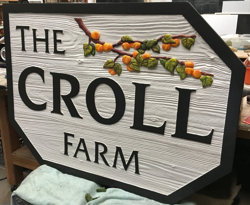Los Altos Hills custom signs carved croll farm front before