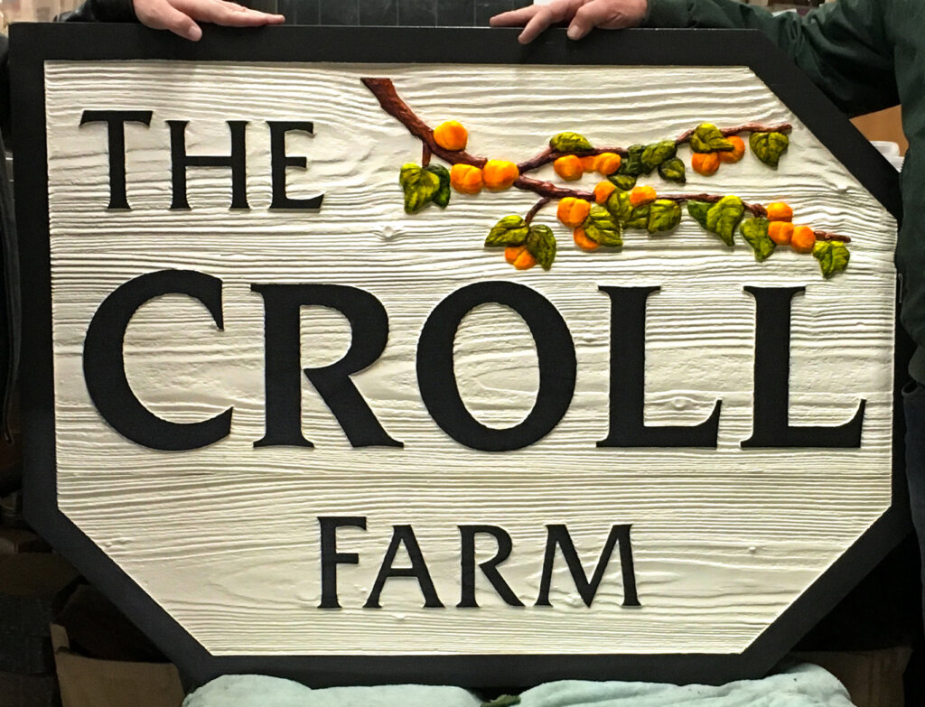 Los Altos Hills custom signs carved croll farm hand painted after