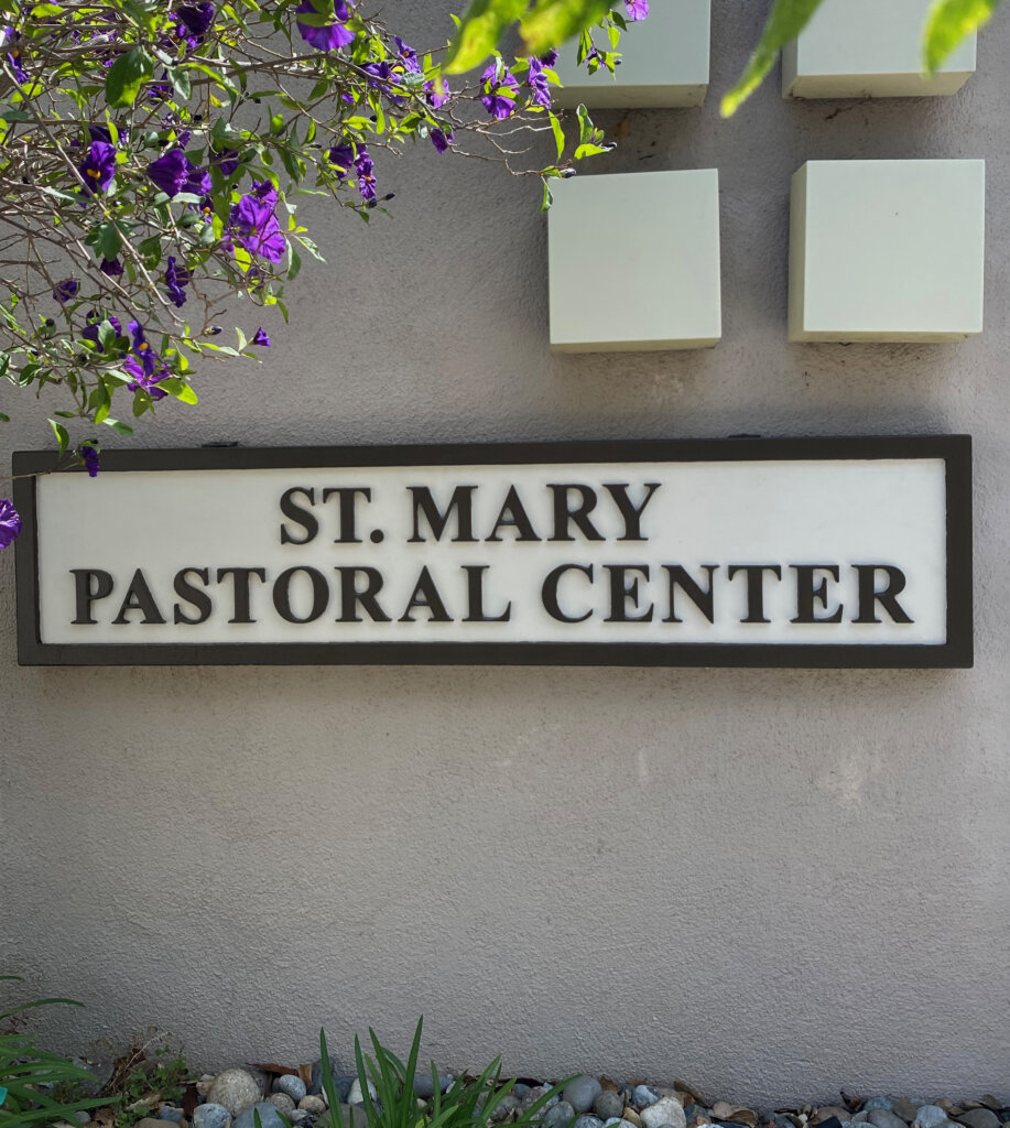 Los Gatos church sign st marys pastoral finished and mounted outside