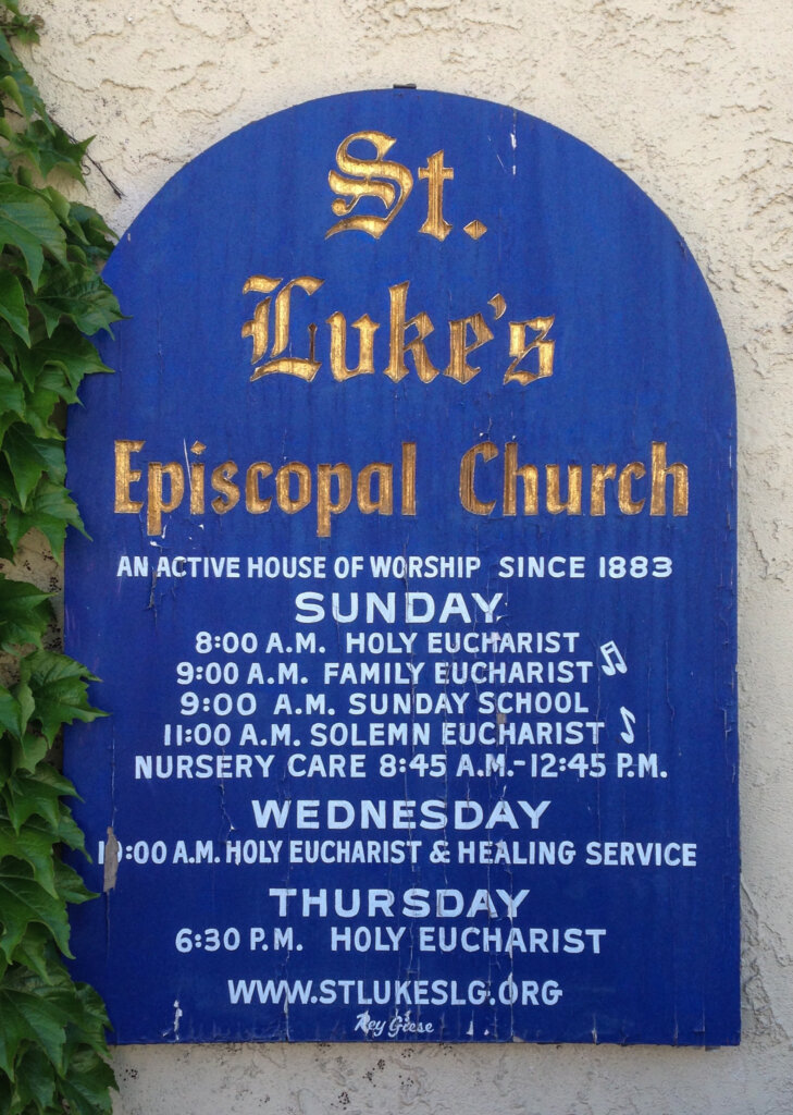 Los Gatos church signs lukes episcopal blue