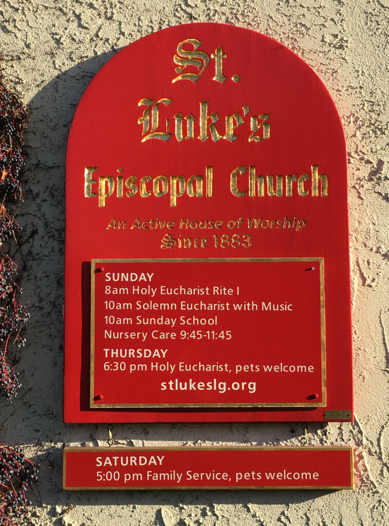 Los Gatos church signs lukes episcopal gold leafing