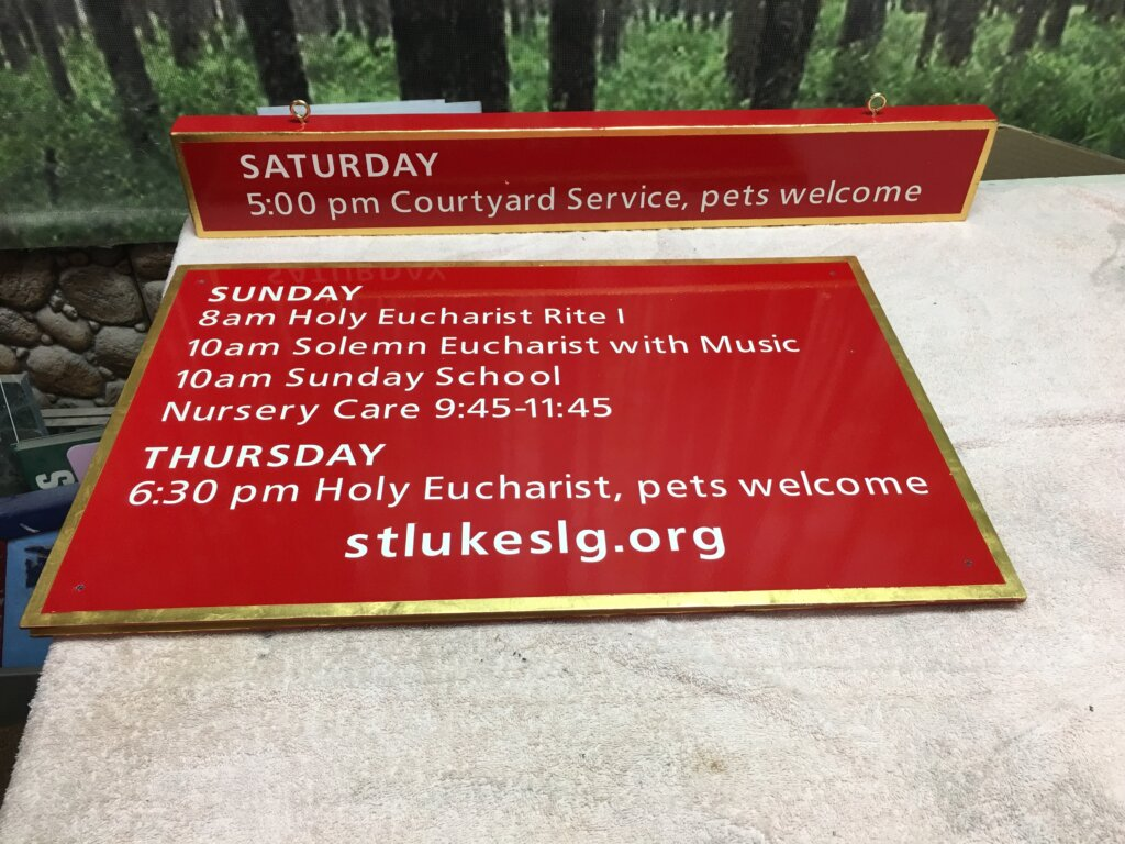 Los Gatos church sign lukes episcopal service schedule