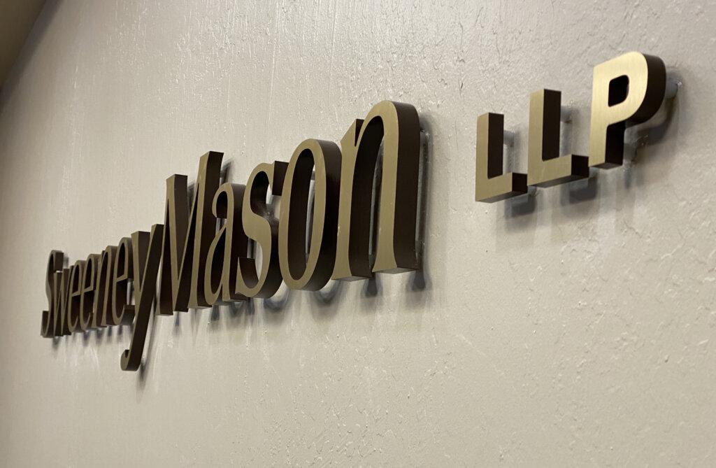 Los Gatos dimensional letters sign Sweeney Mason Wilson Bosomworth board room
