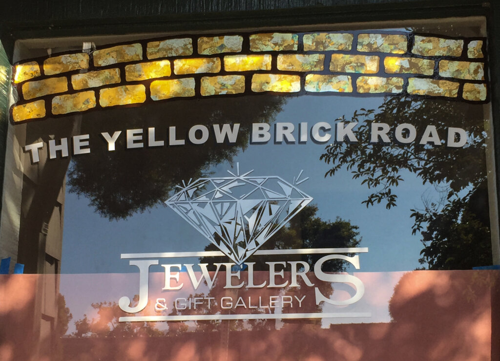 Los Gatos signs gold leafing yellow brick road jewelers new window