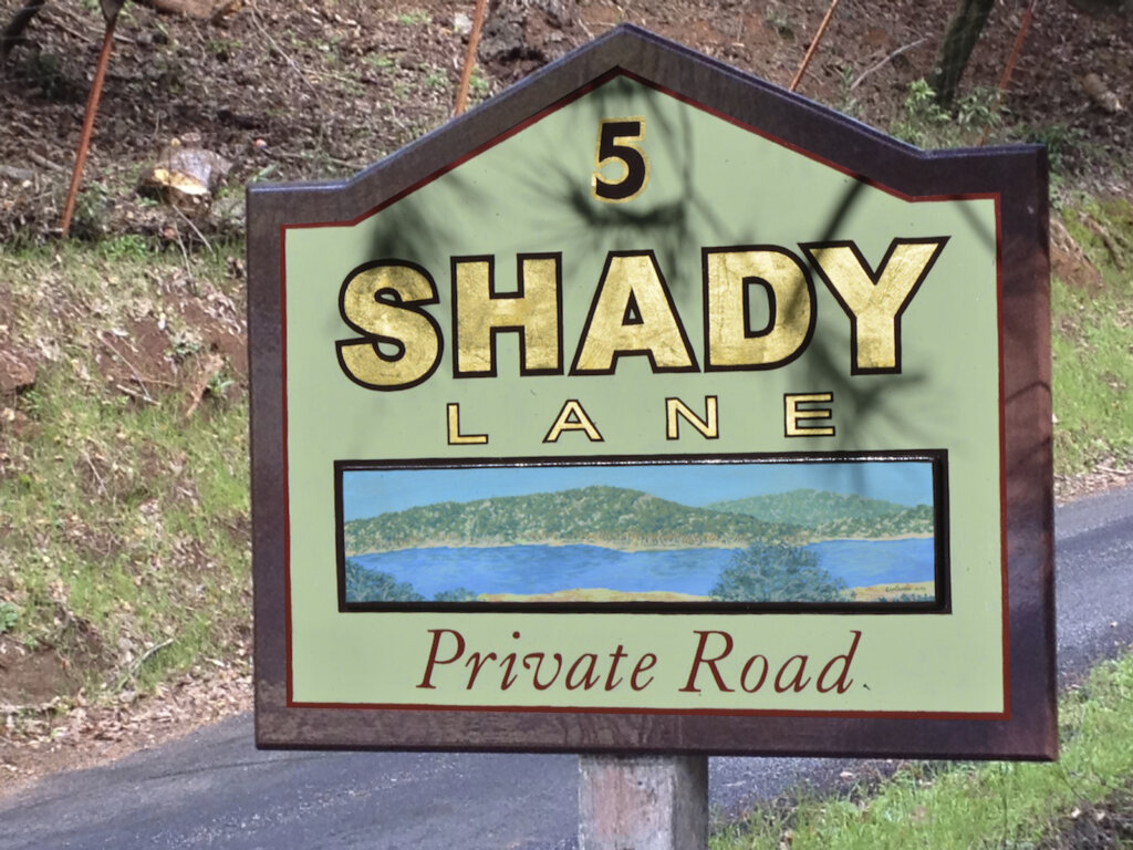 Los Gatos hand-painted sign shady lane private road