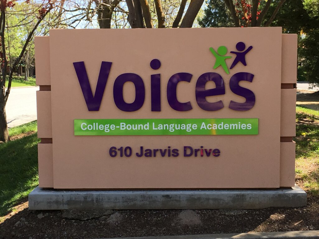 Morgan Hill dimensional letters sign voices language academics monument