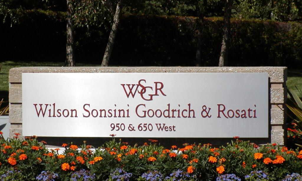 Palo Alto dimensional letters sign wilson sonsini goodrich rosati