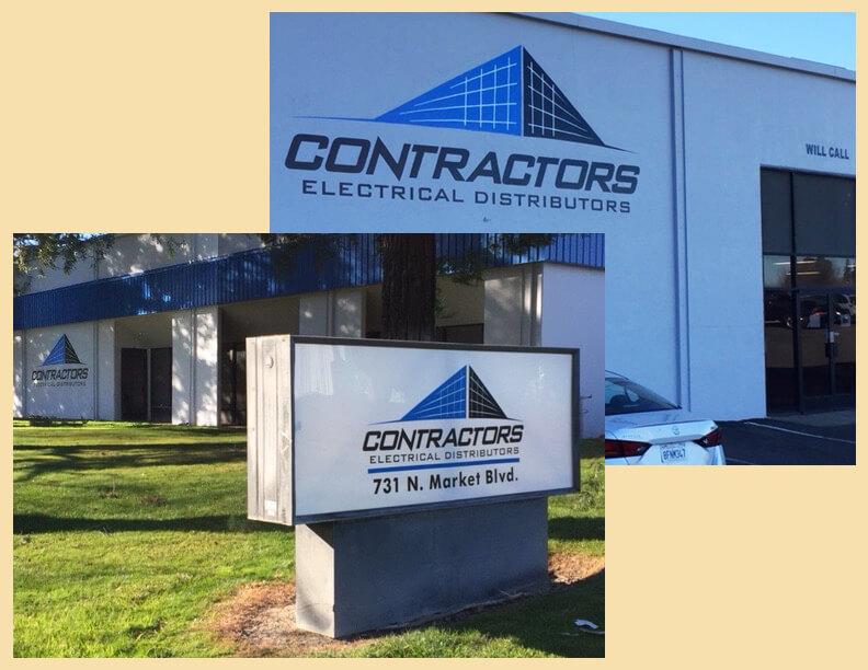 Sacramento custom signs contractors electrical distributors front wall