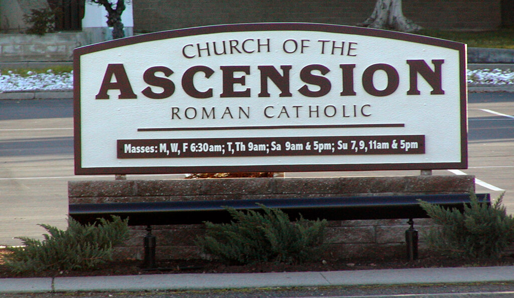 San Jose custom signs ascension catholic church california