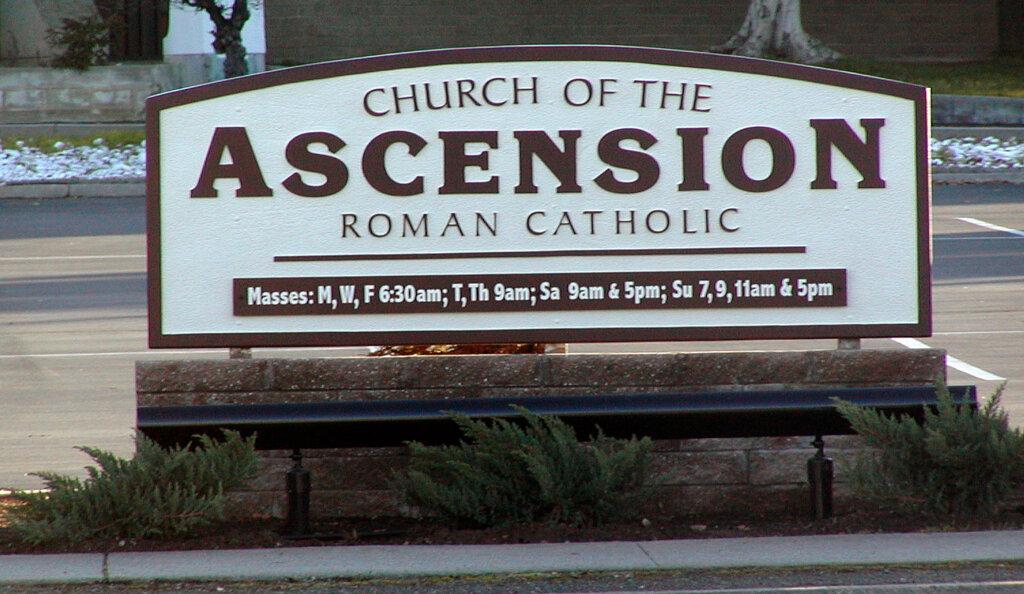San Jose custom signs ascension catholic church california