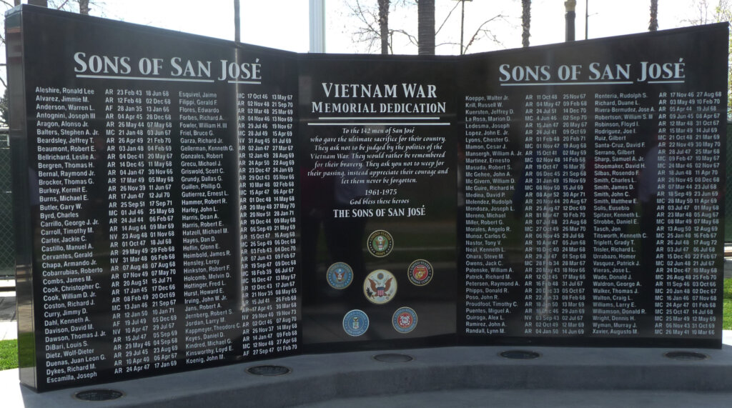 San Jose custom signs vietnam war memorial dedication