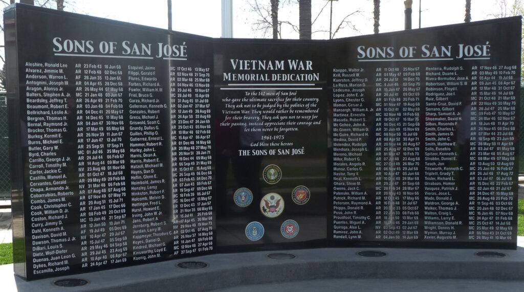 San Jose custom signs vietnam war memorial dedication