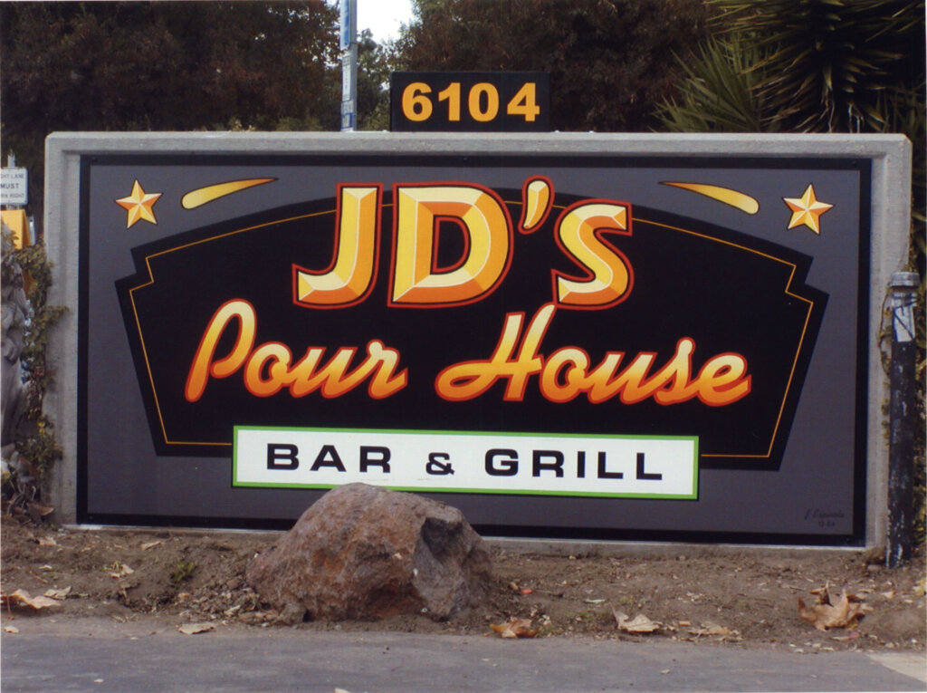 San Jose restaurant sign JDs poor house bar and grill monument
