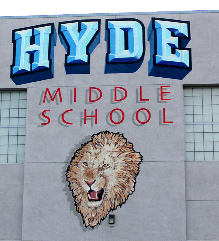 San Jose school signs Hyde gym exterior mascot mural scaled