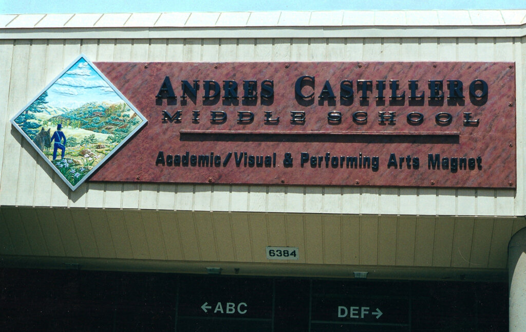 San Jose school signs andres castillero middle entrance