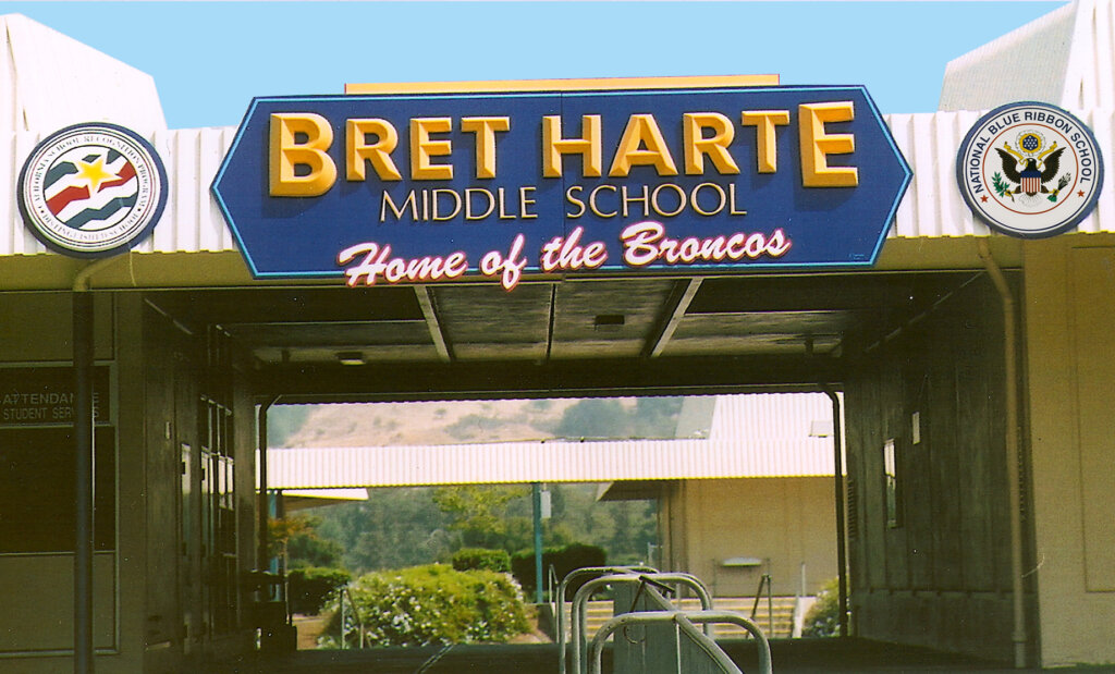 San Jose school signs award bret harte entrance california blue ribbon distinguished
