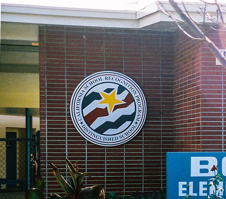 San Jose school signs booksin elementary award entrance california