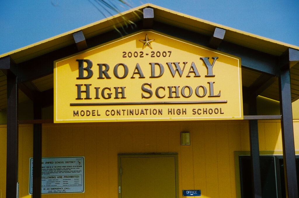 San Jose custom school signs broadway high california