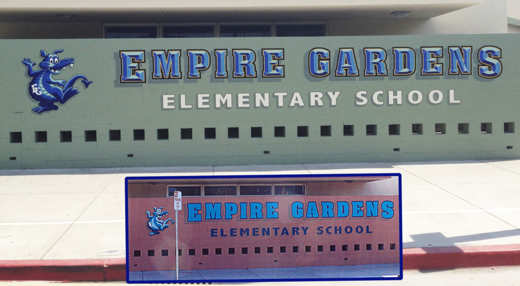 San Jose school signs empire gardens elementary mascot mural painting