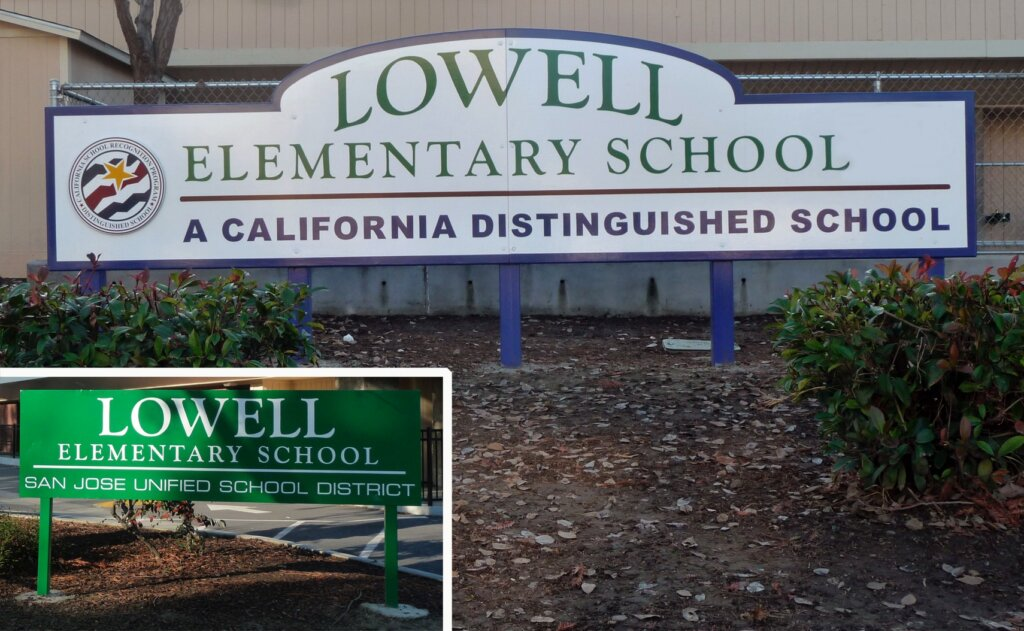 San Jose school signs lowell elementary california distinguished