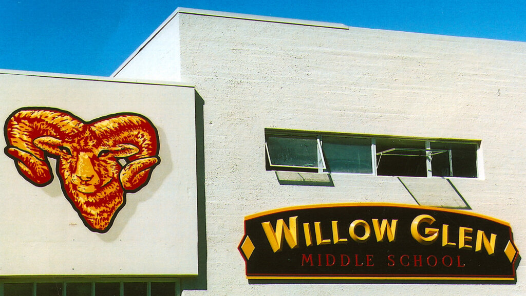 San Jose school signs willow glen wall california