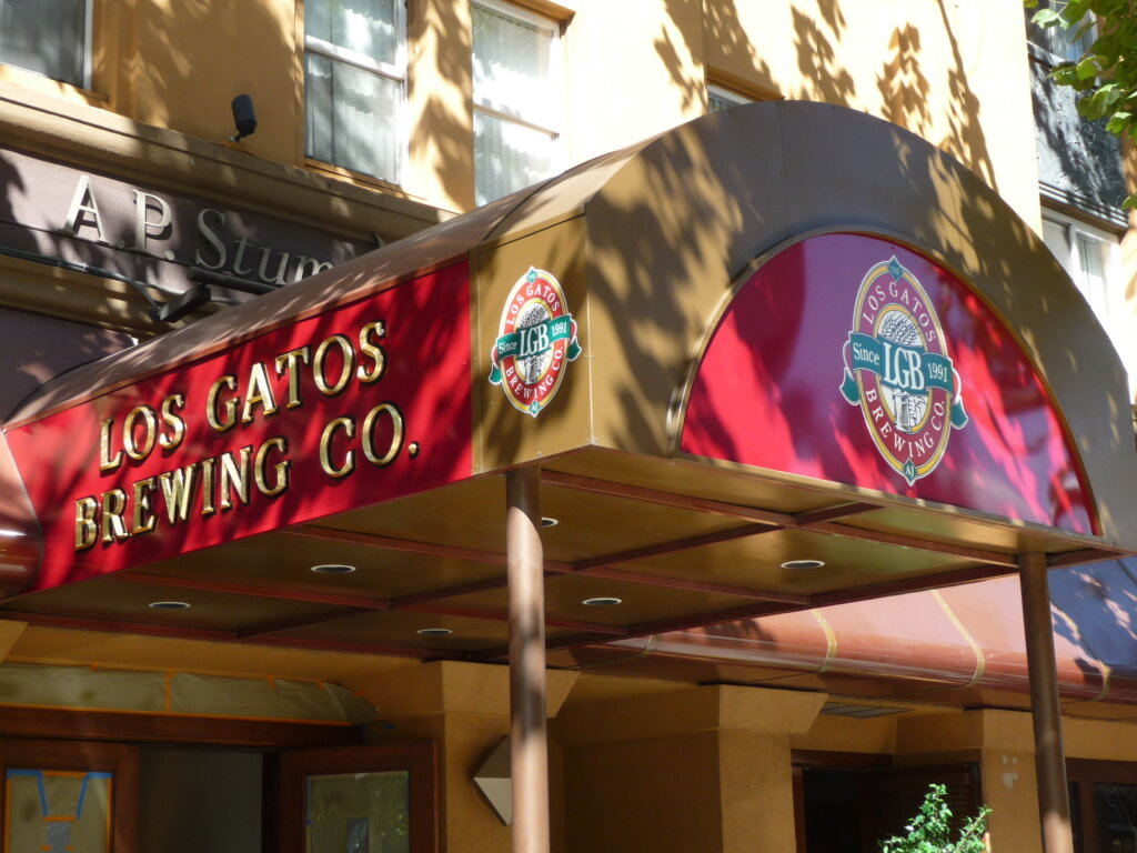 San Jose signs gold leafing los gatos brewing company san pedro square awning