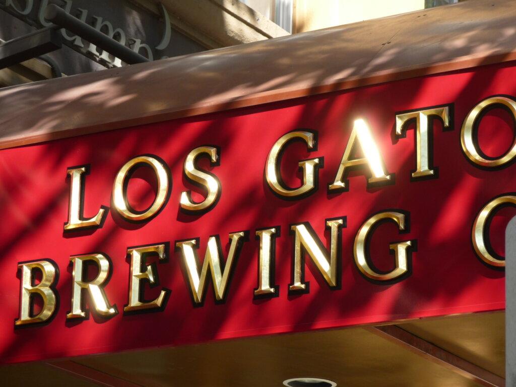 San Jose signs gold leafing los gatos brewing company san pedro square awning detail