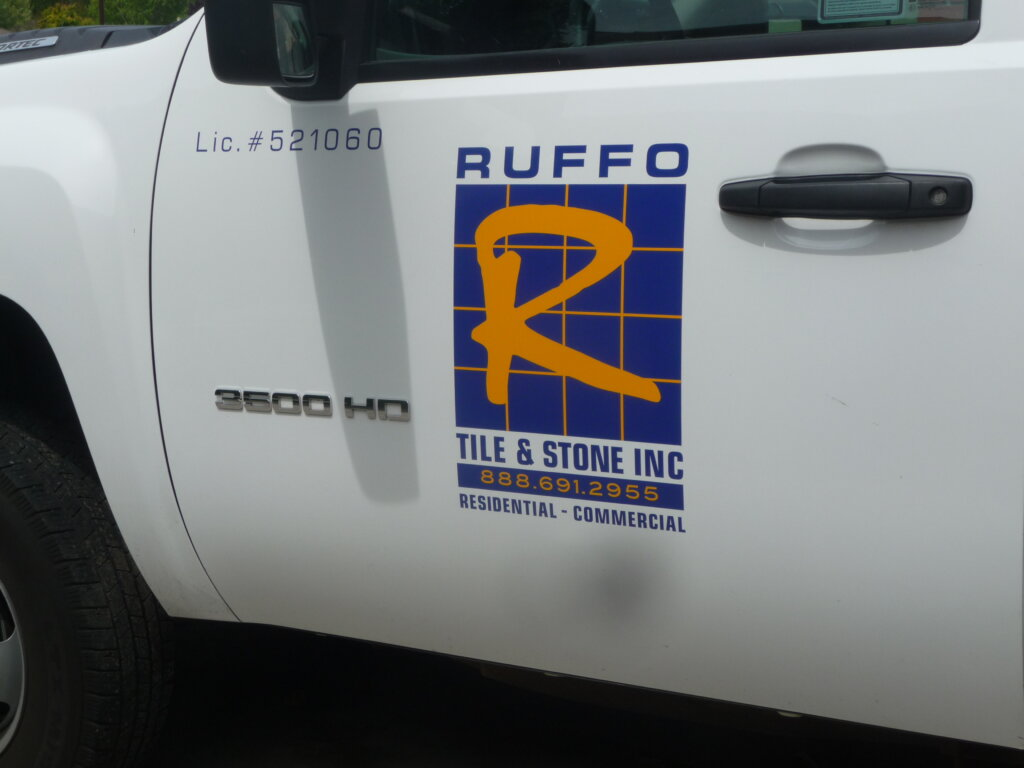 San Jose vehicle sign decal white truck ruffo tile stone inc