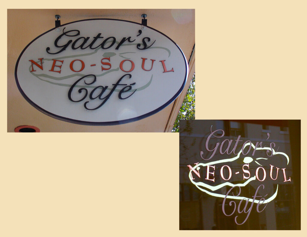 San Mateo custom restaurant sign gators cafe outside