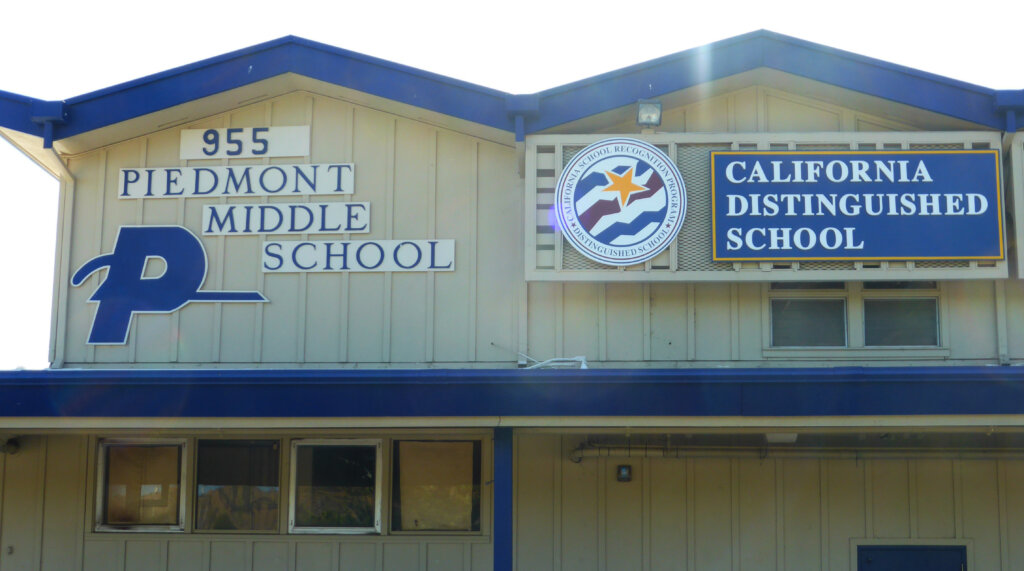 San jose school signs piedmont middle school california distinguished