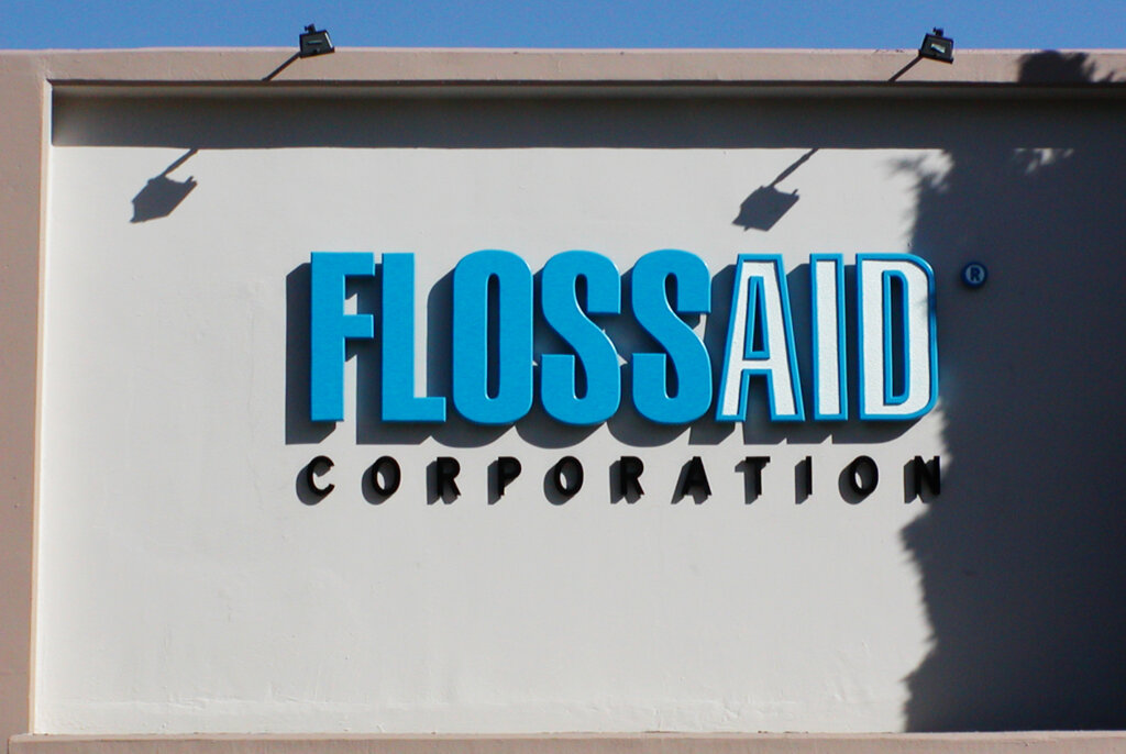 Santa Clara dimensional letters sign flossaid corporation monument
