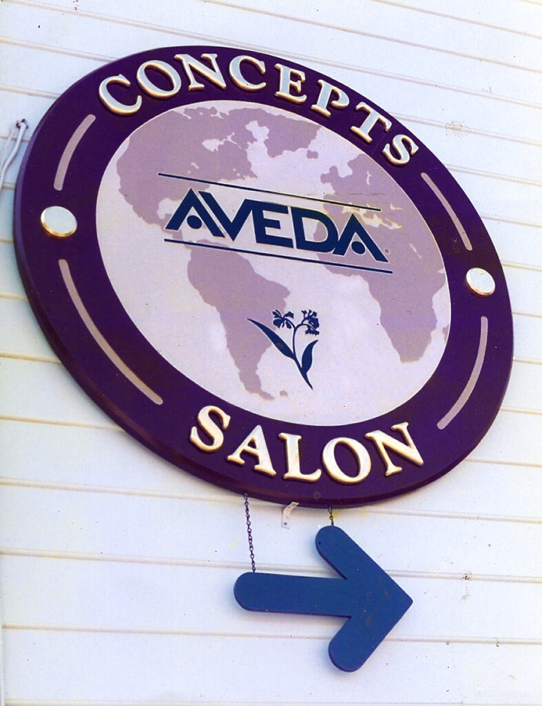 Saratoga custom gold leafing sign aveda concepts salon