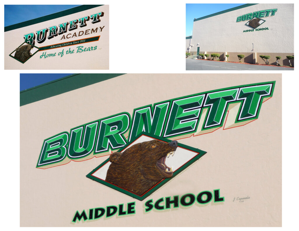 custom school signs San Jose exterior wall mascot mural painting