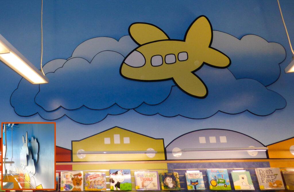 custom mural San Jose library plane post california