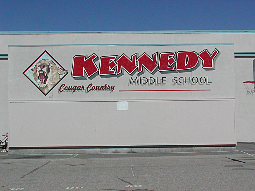 custom school signs Cupertino kennedy gym exterior mascot painting