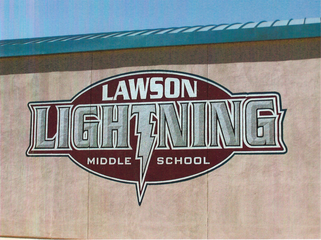 custom school signs Cupertino lawson gym exterior painting