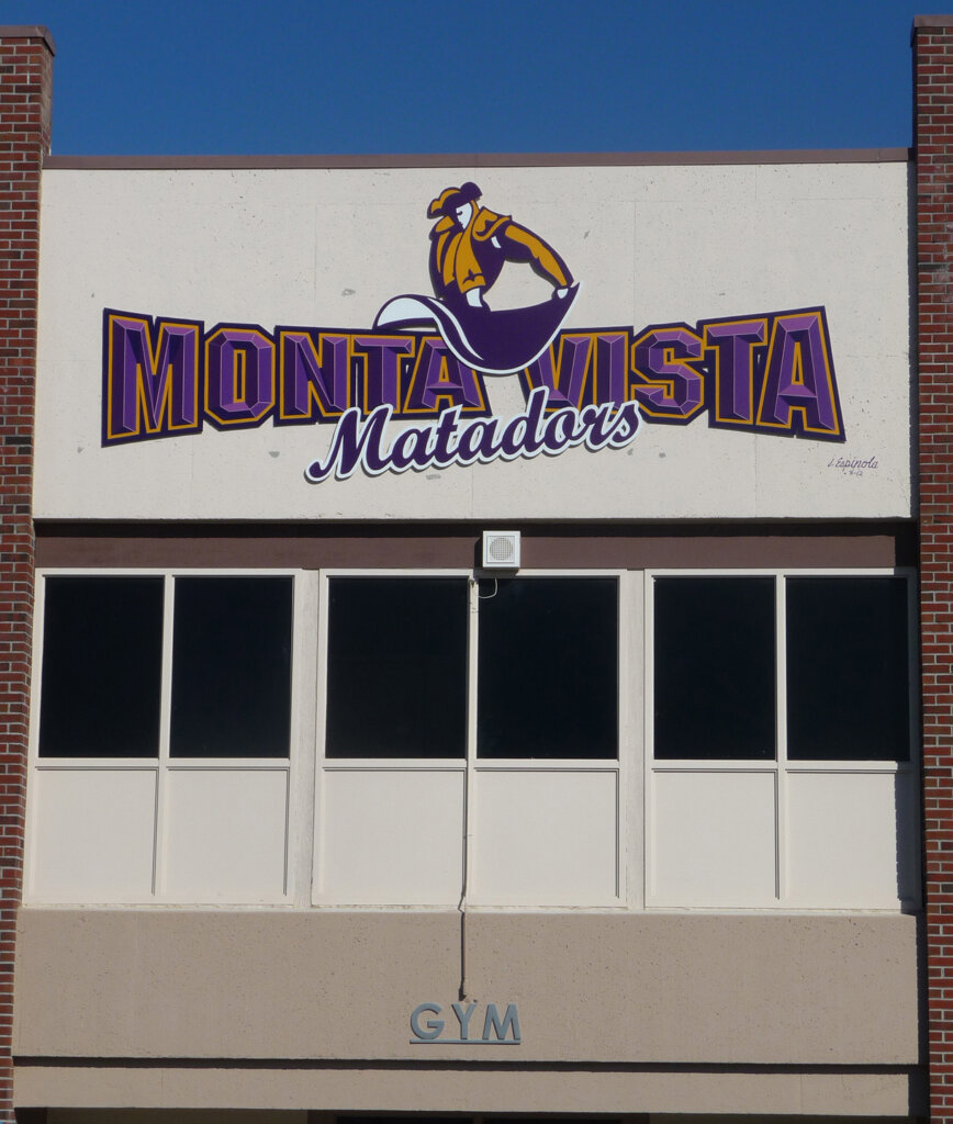 custom school signs Cupertino monta vista high gym exterior mascot