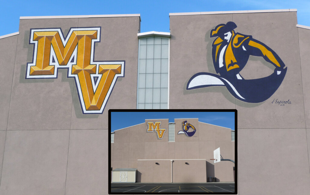 custom school signs Cupertino monta vista high gym exterior mascot painting