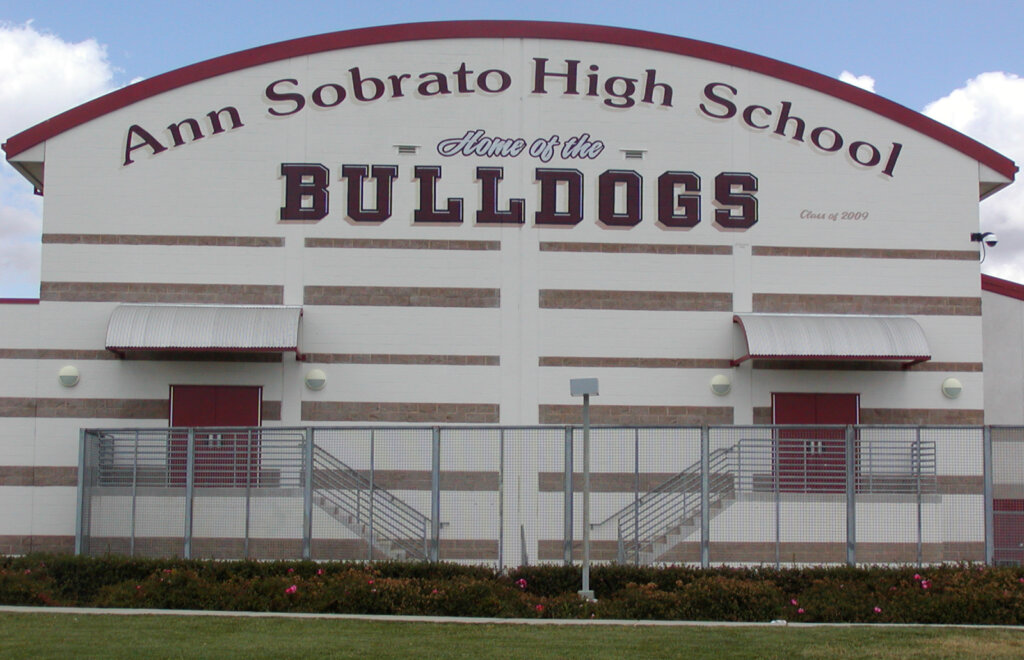 custom school signs Morgan Hill ann sobrato theatre exterior california